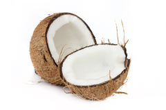 Cocunut open on white Royalty Free Stock Image
