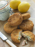 Cod And Salmon Fish Cakes With Tartar Sauce Royalty Free Stock Photography