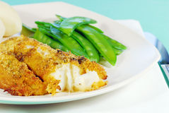 Cod And Snow Peas Stock Photography