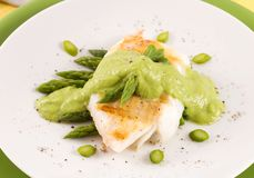 Cod With Asparagus Royalty Free Stock Photo
