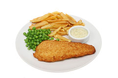 Cod chips and peas Royalty Free Stock Photo