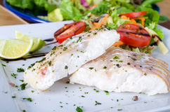 Cod filet with salad Stock Images