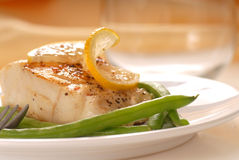 Cod fillet with green beans Royalty Free Stock Image