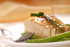 Cod fillet with green beans Stock Image