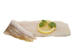 Cod fillet and lemon Stock Photography