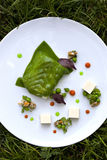 Cod fillet and peas Royalty Free Stock Image
