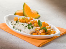Cod fillet with  pumkin Royalty Free Stock Photos