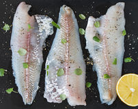 Cod Fillet. Raw Fish with Lemon. Shallow Depth of Field Stock Photo