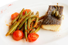 Cod fillet with runner beans Royalty Free Stock Image