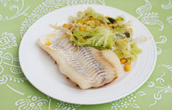 Cod fillet with salad Royalty Free Stock Photo