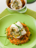 Cod fillet stuffed with herbs Stock Image