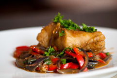 Cod fillet with vegetables Stock Photo