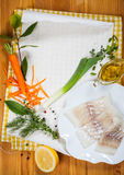Cod fillets with vegetables Stock Image