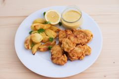 Cod fish in batter or cod fritters served with baked potatoes with parsley leaves and home made mayonnaise sauce. Royalty Free Stock Images