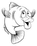 Cod fish cartoon. An illustration of a happy cute cartoon cod fish in black and white Royalty Free Stock Photography