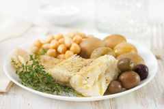 Cod fish with chick-pea Royalty Free Stock Image