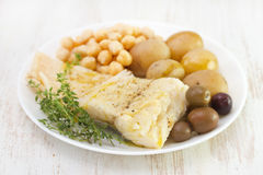 Cod fish with chick-pea Stock Photography