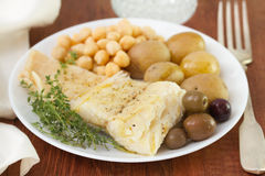 Cod fish with chickpea Royalty Free Stock Images