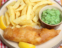 Cod Fish & Chips with Mushy Peas Royalty Free Stock Photos