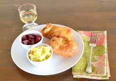Cod fish fillet ,garlic dip, roasted beet salad and white wine Stock Images