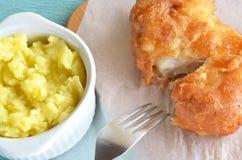 Cod fish fillet and garlic dip Stock Photo