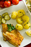 Cod fish fillet with potatoes Stock Images