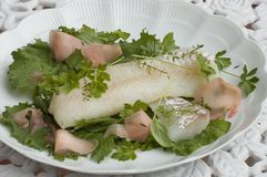 Cod fish plate Stock Image