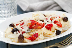 Cod fish with red pepper Stock Images