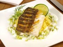 Cod Fish on Rice royalty free stock photos