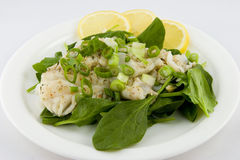 Cod Fish Salad. With spinach Royalty Free Stock Photos