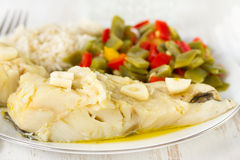 Cod fish with vegetables Royalty Free Stock Image