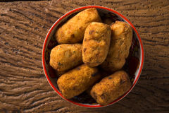 Cod fritters, traditional Spanish tapas Bunuelos de Bacalao Stock Photo