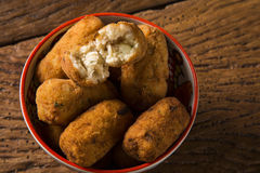 Cod fritters, traditional Spanish tapas Bunuelos de Bacalao Royalty Free Stock Images