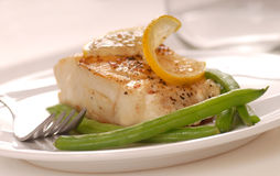 Cod with green beans Royalty Free Stock Image