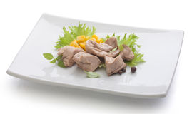 Cod liver with corn Stock Images