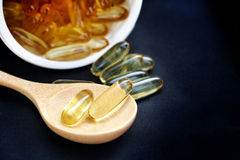 Cod liver oil capsules Stock Photos