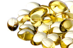 Cod Liver Oil Capsules Macro Isolated Stock Images