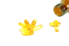 Cod liver oil omega 3 gel capsules Royalty Free Stock Photography