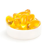 Cod liver oil omega 3 gel capsules Stock Images