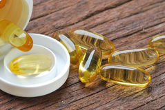 Cod liver oil omega 3 gel capsules Royalty Free Stock Photos