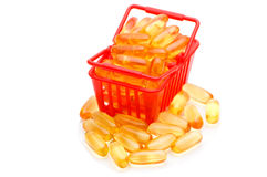 Cod liver oil Omega 3 in the shopping basket Stock Images