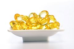 Cod liver oil pills Stock Photos