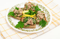 Cod liver with parsley Royalty Free Stock Photos