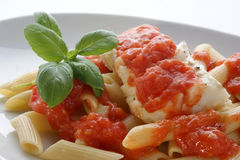 Cod loins with home made tomato sauce Stock Images