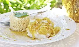 Cod with onions. A healthy and simple recipe for cod with onions and safran Royalty Free Stock Photography