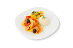 Cod a Portuguese style, rice and steamed vegetables Stock Photo