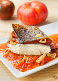 Cod Rioja style, Spain cookery. Stock Photography