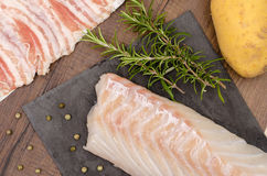 Cod with rosemary and potato Royalty Free Stock Photos