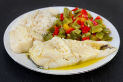 Cod with vegetables Royalty Free Stock Images