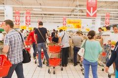Coda al supermercato Fotografia Stock Libera da Diritti